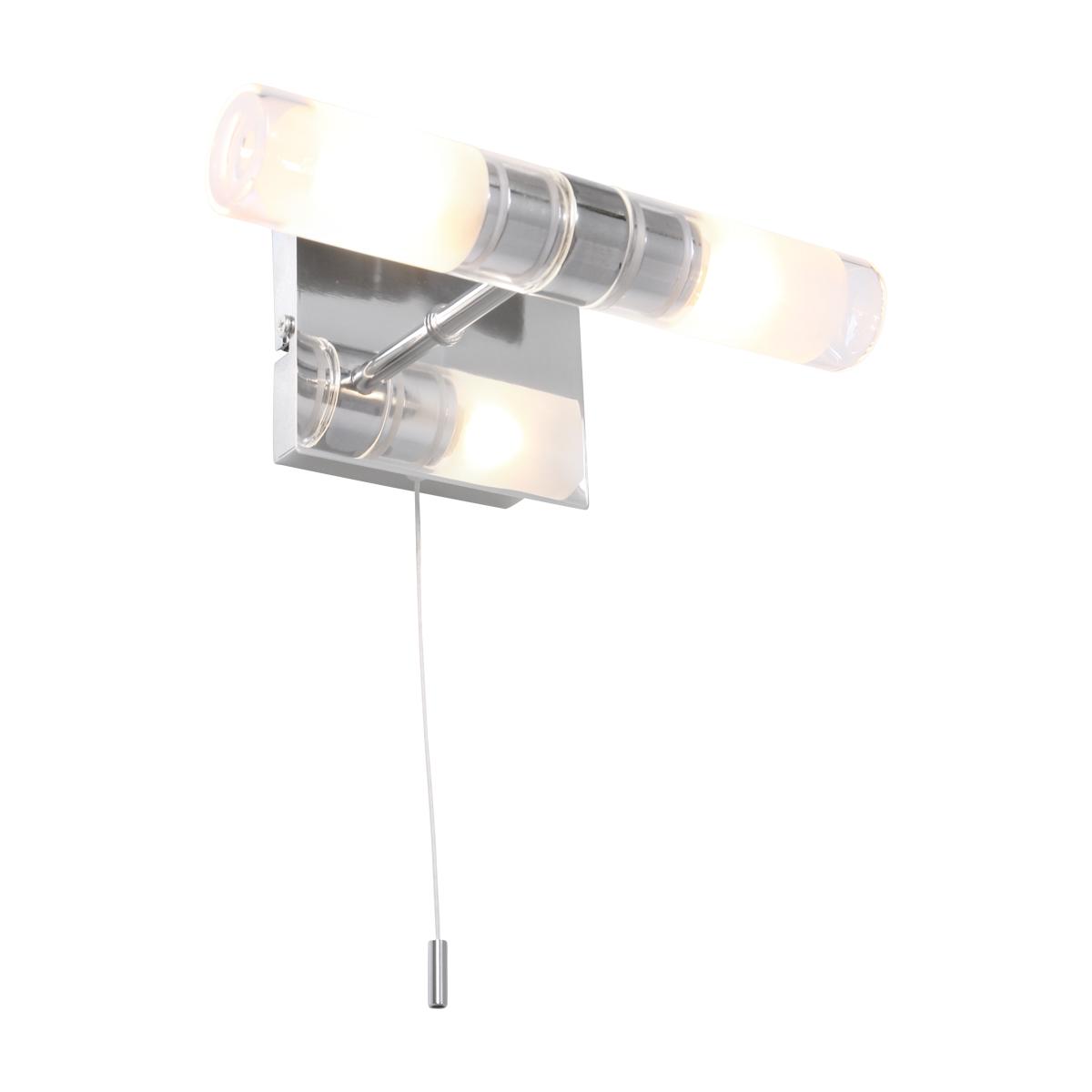 2 Flammige Led Wandleuchte Mit Zugschalter Badezimmer Geeignet Ip44 Silber Aus Chrom Und Glas Inkl Led 2x 5w Wohnlicht