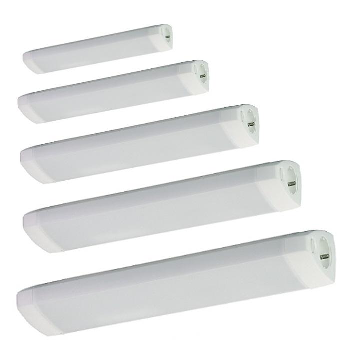 Bad und Spiegelleuchte SPN weiß mit Schalter und Steckdose | WOHNLICHT