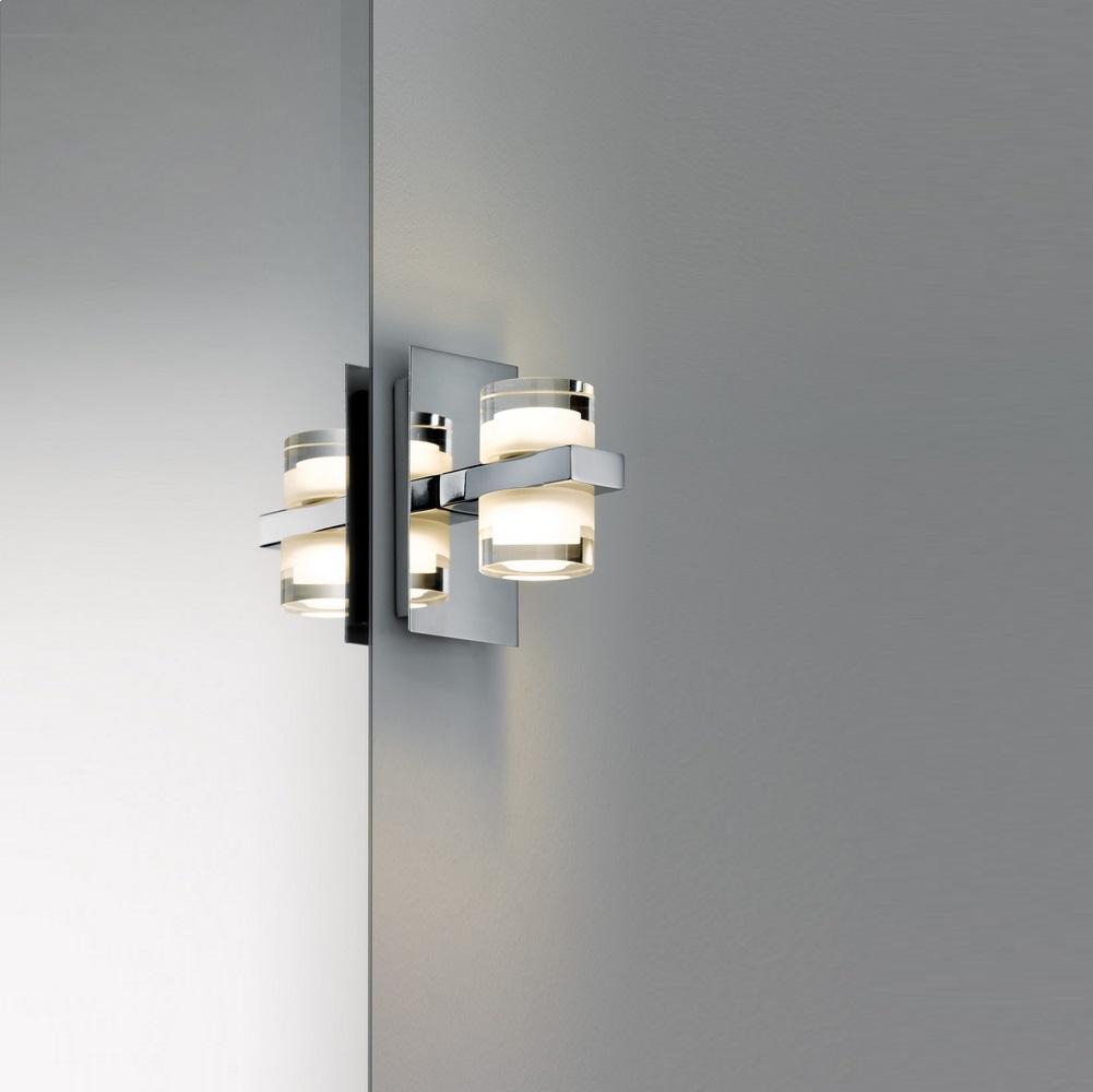 Badezimmer Led Wandleuchte 2x3 5w Chrom Weiss Metall Acryl 2700k