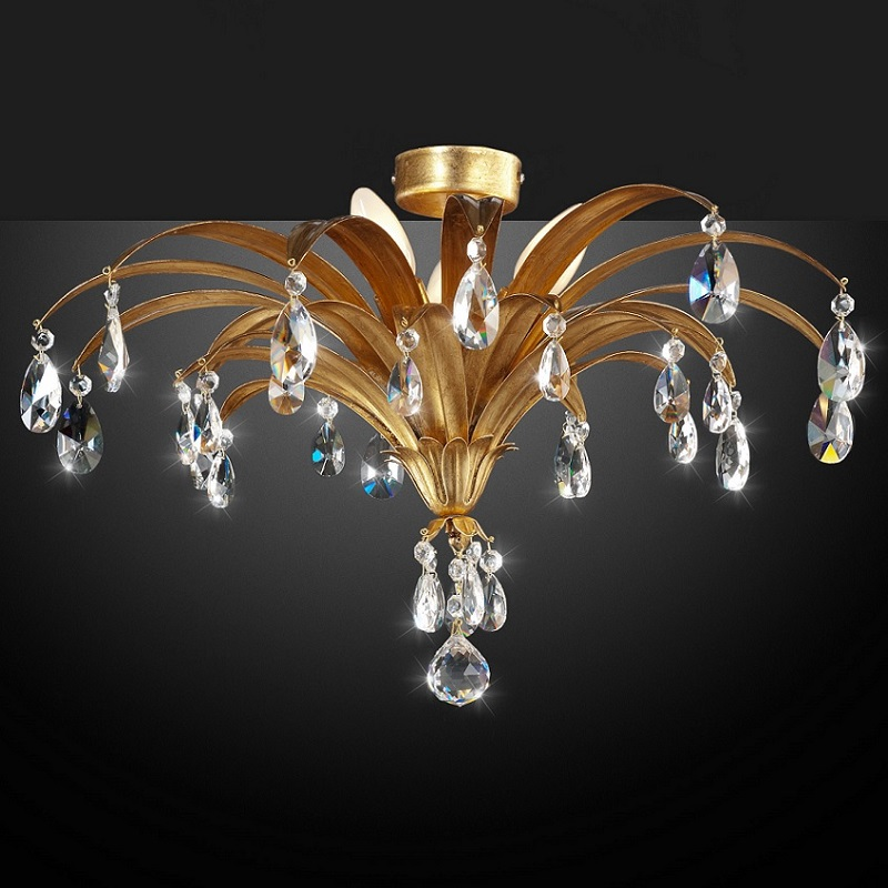 Extravagante Deckenleuchte Blattgold, Kristallbehang, 3-flg | WOHNLICHT