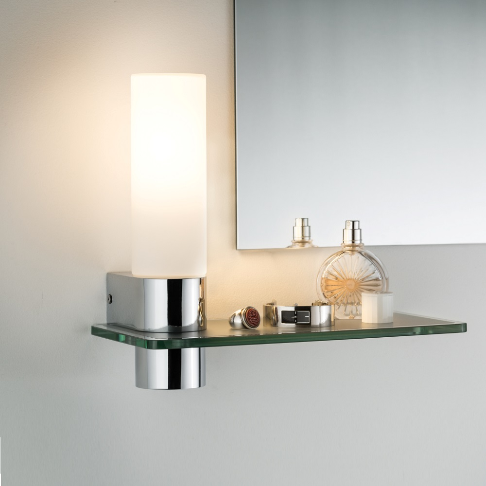 LED Badezimmer Wandleuchte Asterion Mit Glasregal