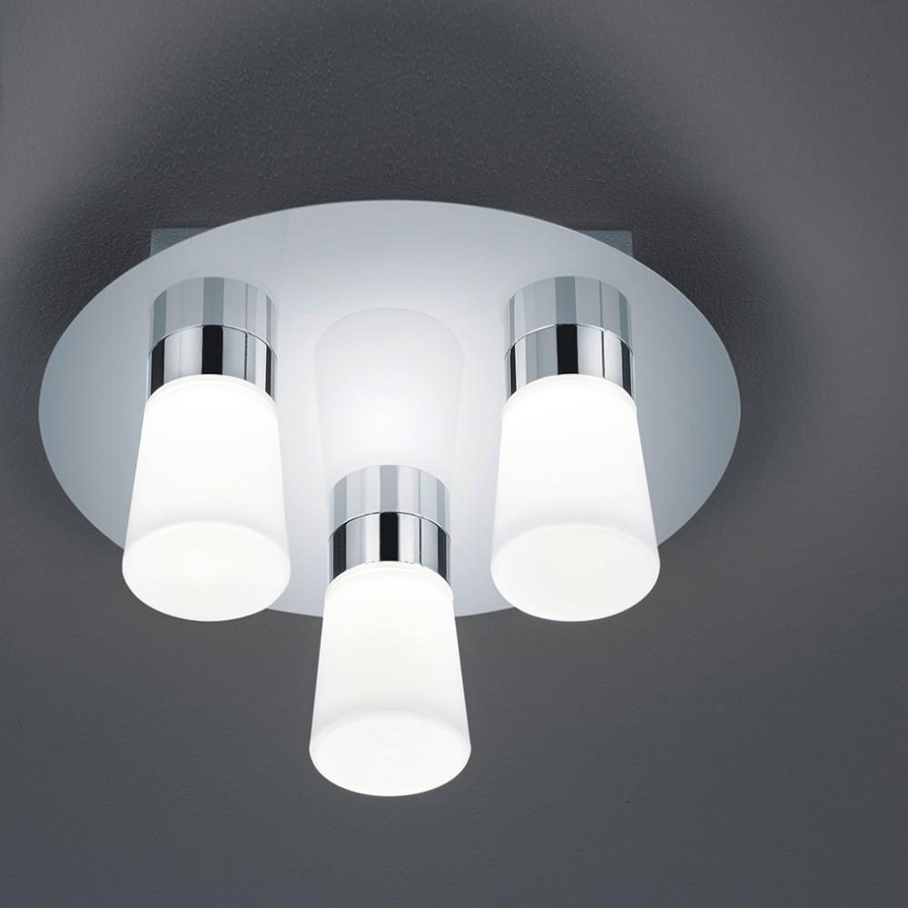 LHG LED-Badezimmer-Deckenleuchte IP44 in Chrom glänzend, Opalglas weiß -  inklusive SMD 3 x 4,5W OSRAM-LED A+, warmweiß 3000°K + Extra 1x GU10 LED ...