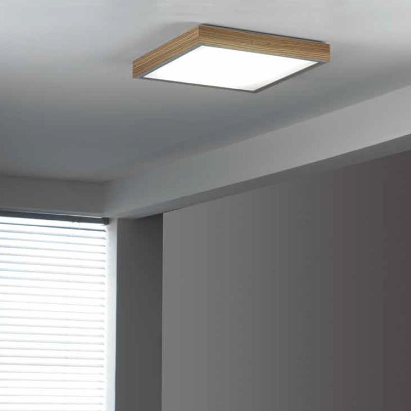 LED-Deckenleuchte 50x50cm mit Holzrahmen   WOHNLICHT