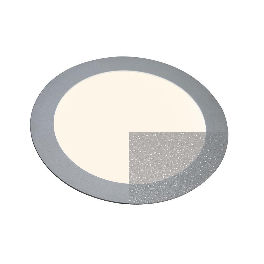LED-Panel rund für Deckeneinbau Innen und Außen, silber, 16W   WOHNLICHT