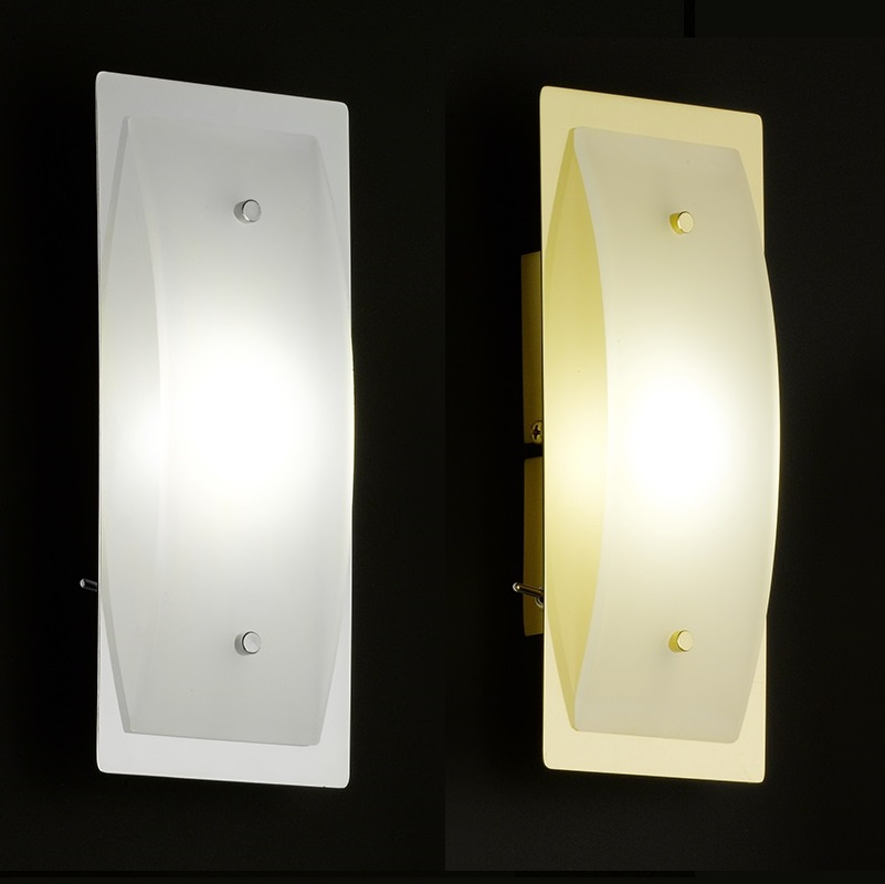 LED-Wandleuchte mit Schalter in Chrom oder Messing | WOHNLICHT