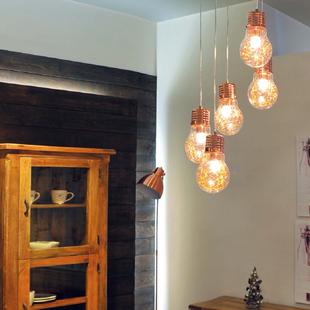 Pendelleuchte Bulb, Kupfer Glühbirne mit Drahtfäden | WOHNLICHT