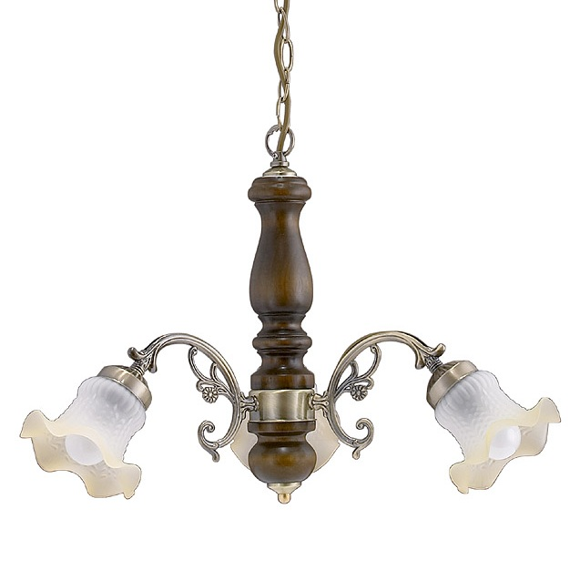 Pendelleuchte 3 flammig in Bronze, Holz Walnuss mit Kelchglas