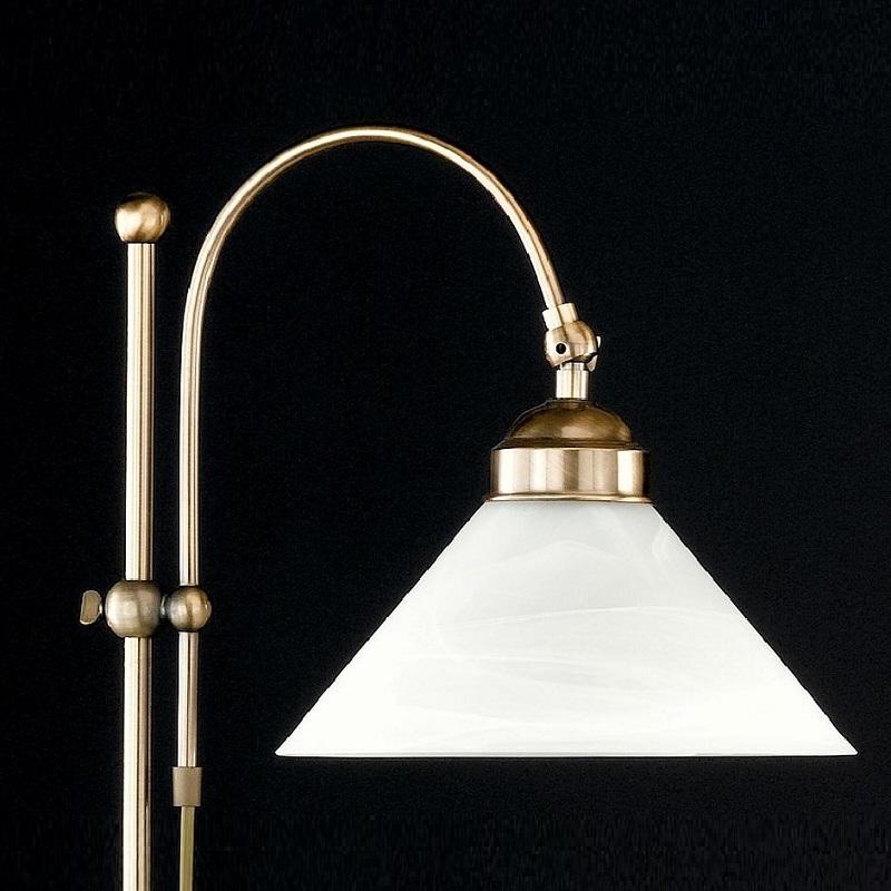 Lampenschirm Glas opal weiß Wohnraumleuchte Antike Stehleuchte in Altmessing