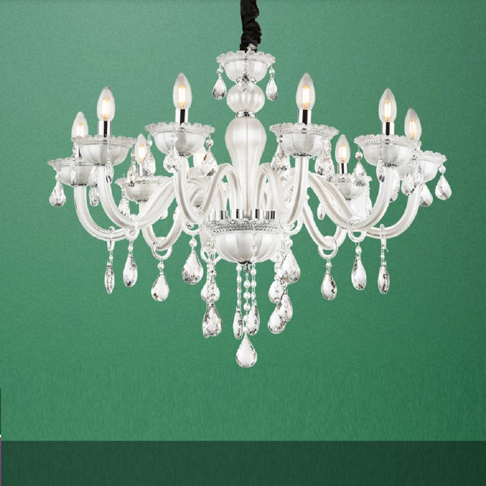 15-flammige Krone aus Glas und Kristallbehang
