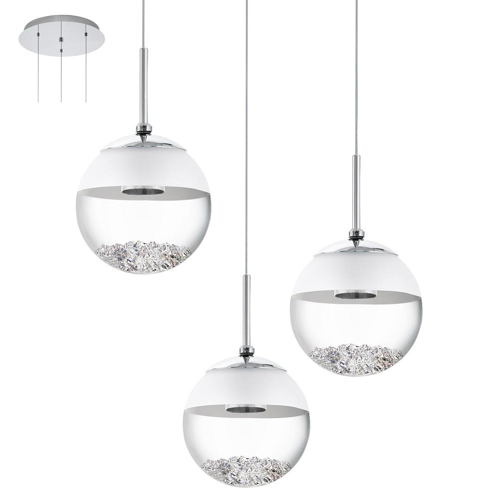 3-flammige LED Pendelleuchte, rund, mit Glaskugeln und Kristallen