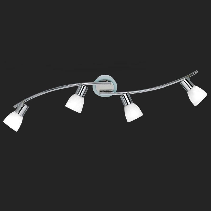 LHG 4-flammiger Deckenstrahler Chrom mit Opalgläsern, inkl Tropfenlampen