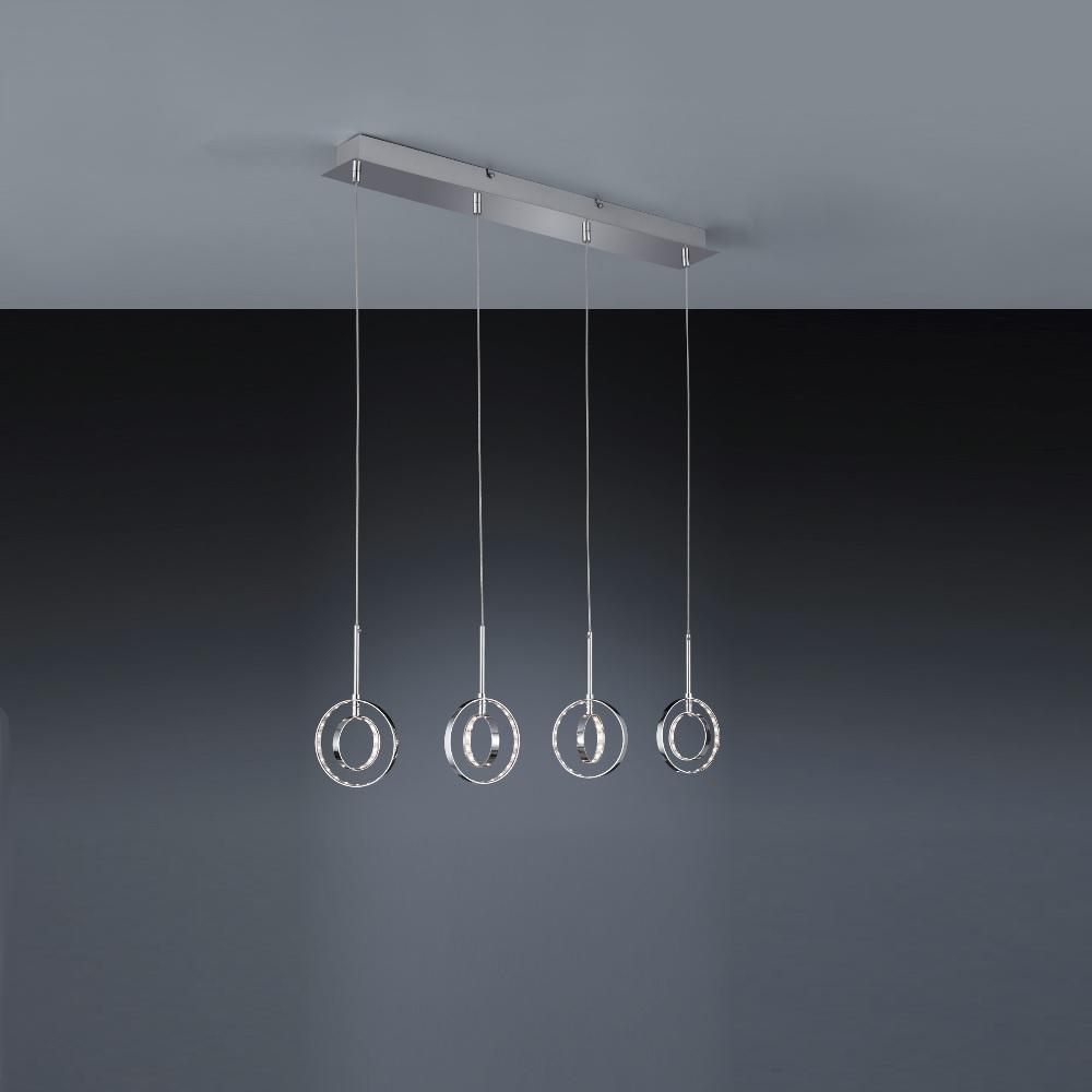 4-flg LED-Pendelleuchte Prater Chrom - 4x 4 Watt LED