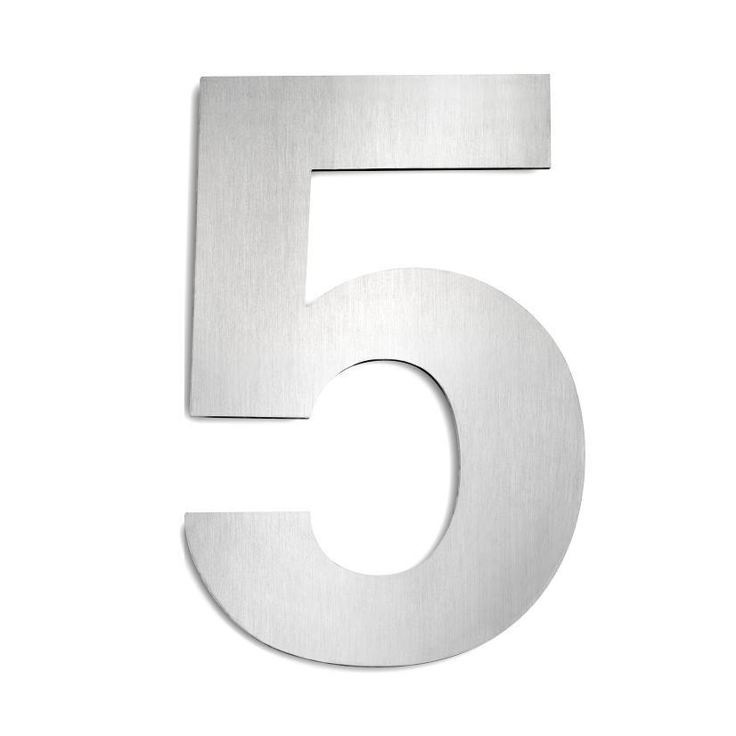 CMD Hausnummer 5 aus Edelstahl, groß Hausnummer 5 G5 | Lampen > Aussenlampen > Hausnummern | Edelstahl - Gebürstet | CMD