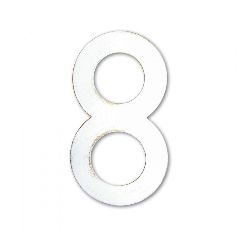 Heibi Hausnummer in Weiß-Gold patiniert, pulverbeschichteter Edelstahl, Höhe 16cm, Hausnummer 8 Hausnummer 8 64408-008 | Lampen > Aussenlampen > Hausnummern | Weiß - Gold | Edelstahl | Heibi
