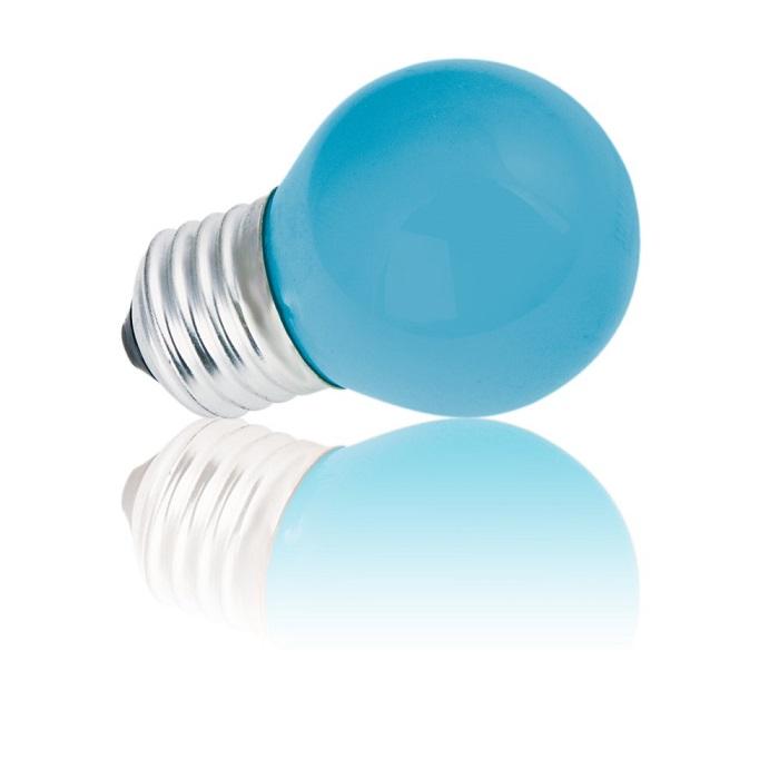 Heitronic D45 E27 Tropfenlampe 15W in Blau 1x 1...