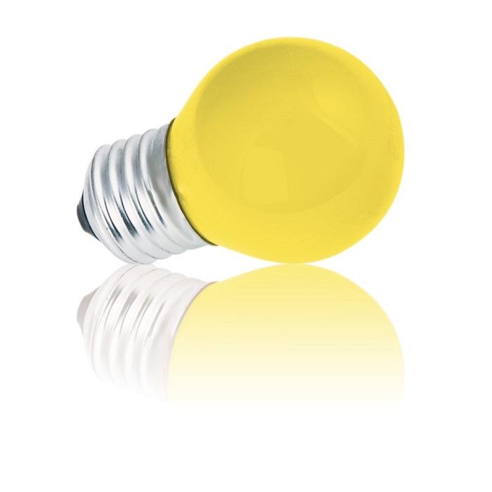 Heitronic D45 E27 Tropfenlampe 15W in Gelb 1x 1...