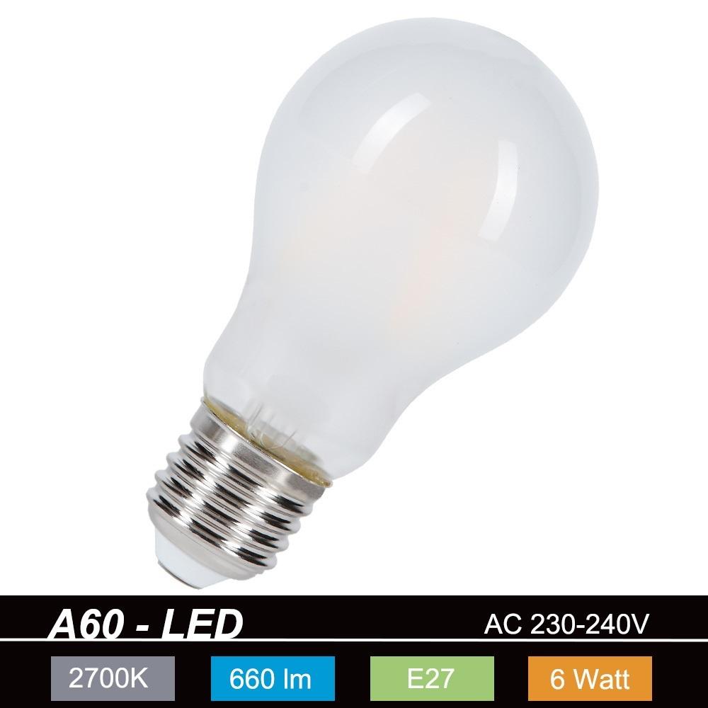 A60 LED-Leuchtmittel E27 6W, 660lm, 2700K, nicht dimmbar
