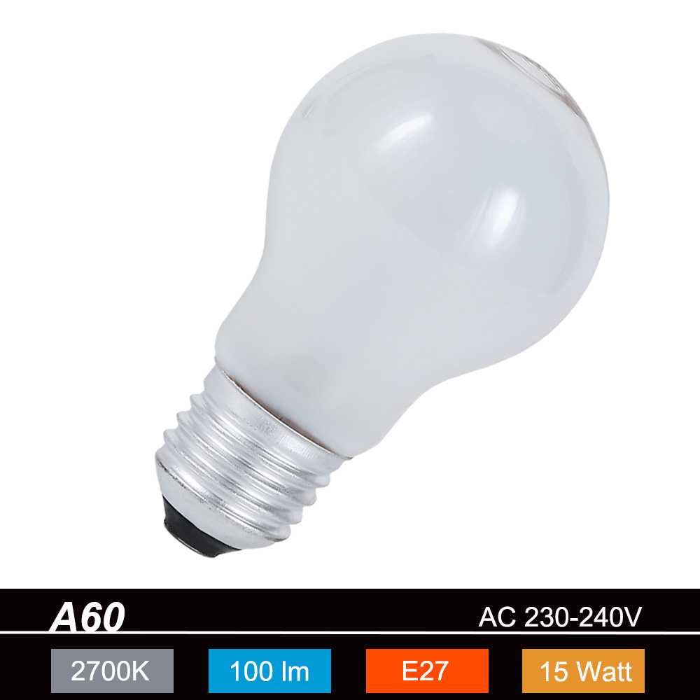 Beghelli A60 E27 15W matt 2700K 230V 90lm 360° ...