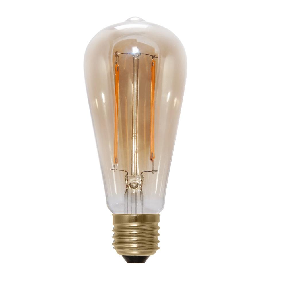 A65 Rustika LED 6 Watt, E27, Fadenleuchtmittel, 2000K, Gold Glas klar