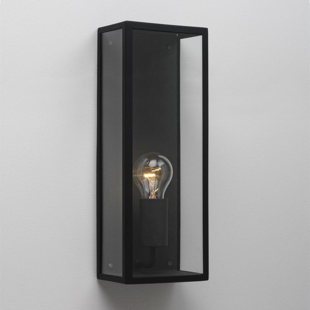 Außenwandleuchte, modern, Schwarz, Klarglas, 35x13cm, LED geeignet
