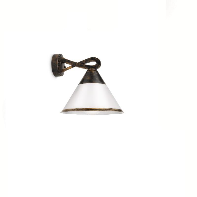 LHG Außenwandleuchte, Schwarz, Goldpatiniert, Klassisch, Energiesparlampe