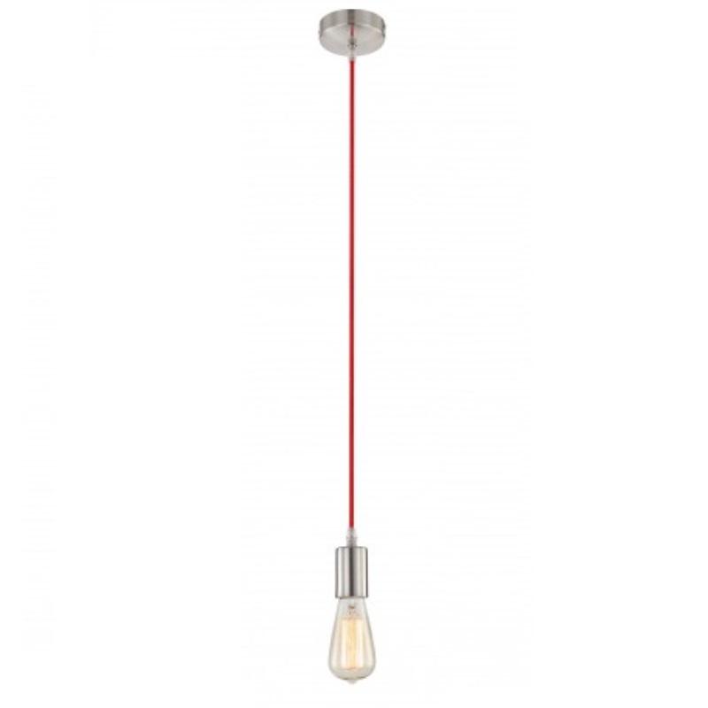 LHG Aufhängung - Leuchtenpendel in Nickel matt, Kabel in rot