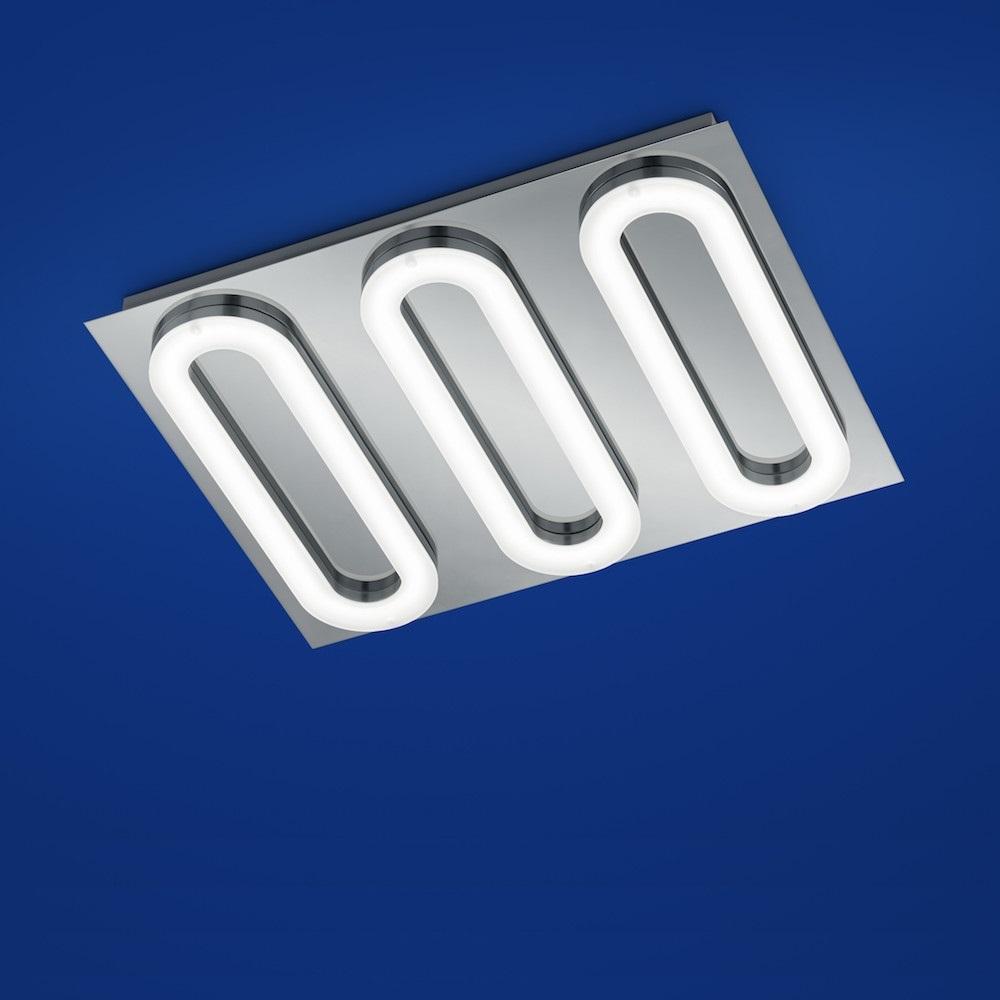B-Leuchten LED-Deckenleuchte Namur Chrom mit schwarz