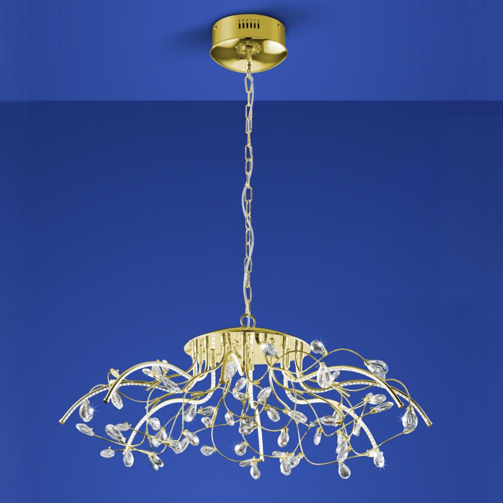 B-Leuchten LED-Pendelleuchte Crystal Ø 77 cm Messing-blank
