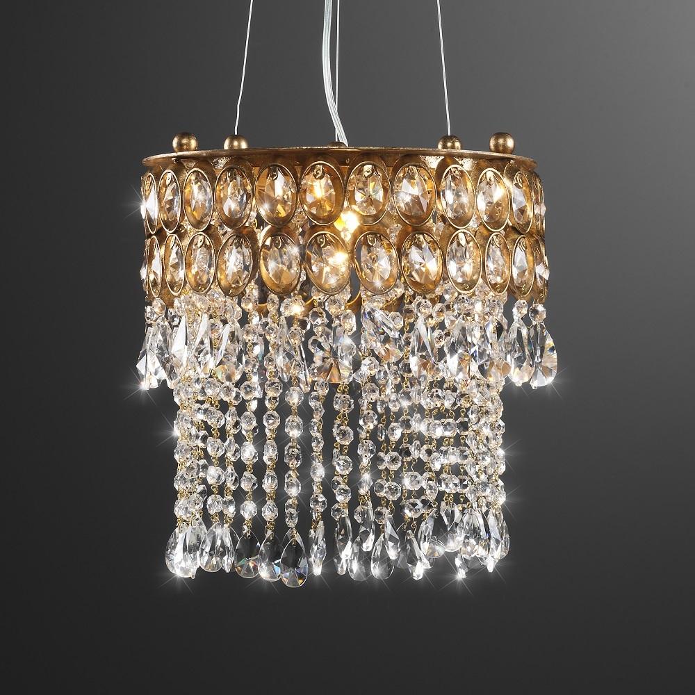 Brillante Pendelleuchte - Durchmesser 33 cm - Blattgold - Kristallbehang
