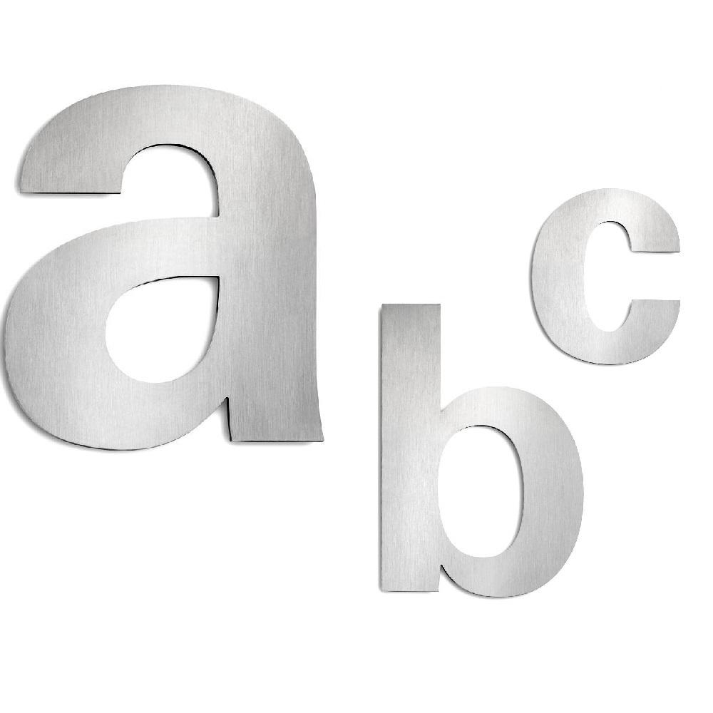 Buchstaben Hausnummer, Auswahl von a-c  aus Edelstahl