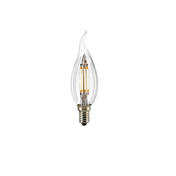 C35 LED Windstoß E14 klar 2700K dimmbar - 2,5 oder 4 Watt Filament