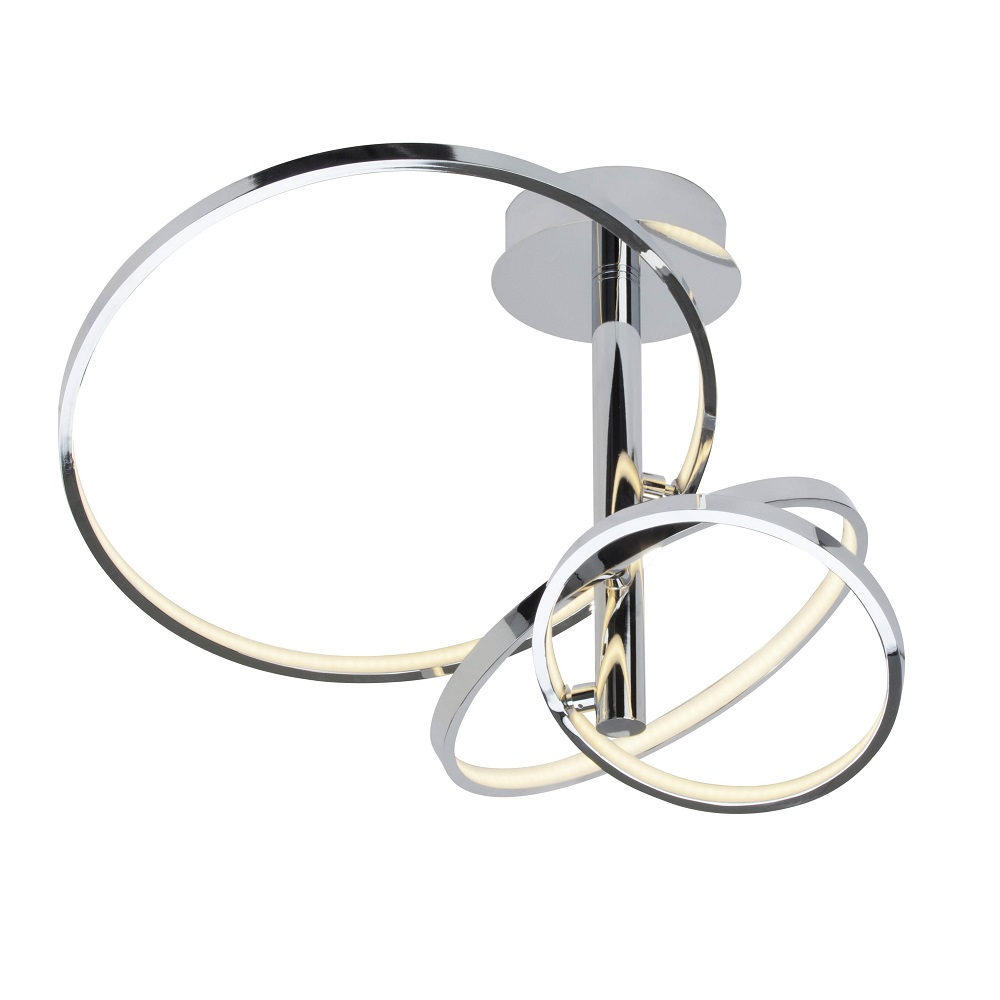Chromfarbene LED-Deckenleuchte Saturn