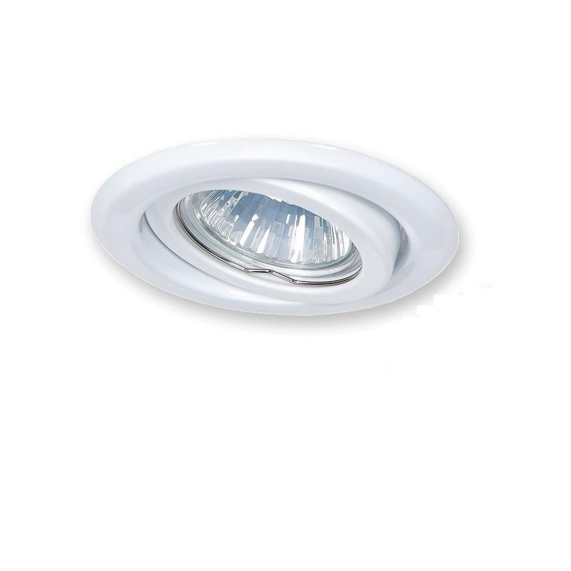 Deckeneinbaustrahler weiß schwenkbar inklusive HV-Fassungen GU10 und LED Leuchtmittel mit 7W Einbauleuchte