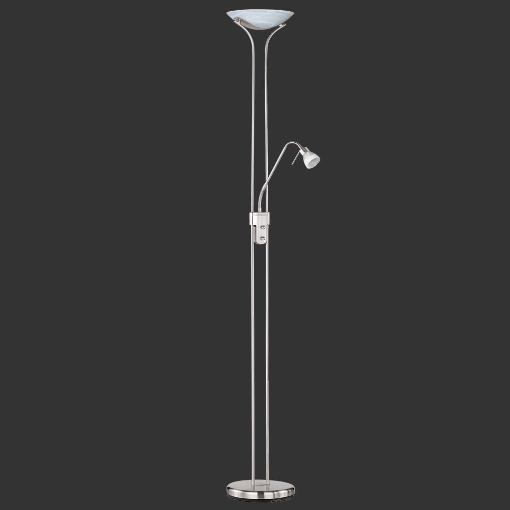 Trio Deckenfluter Santo Nickel-matt mit Lesearm - dimmbar Santo 431912107 | Lampen > Stehlampen > Deckenfluter | Matt | Stahl - Glas | Trio