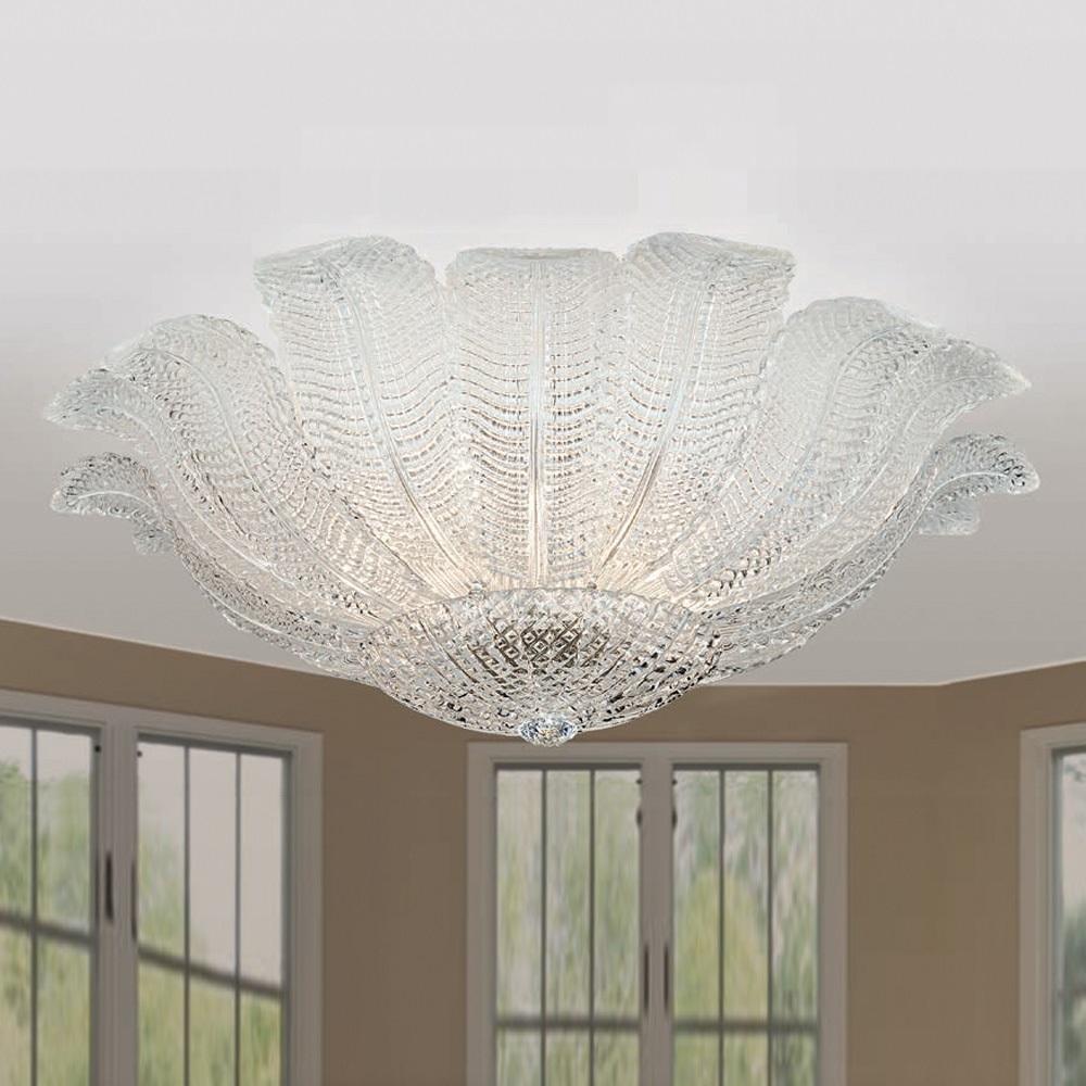 Deckenleuchte aus Glas, 2 Größen, Gold 24 K oder Chrom - Strukturglas