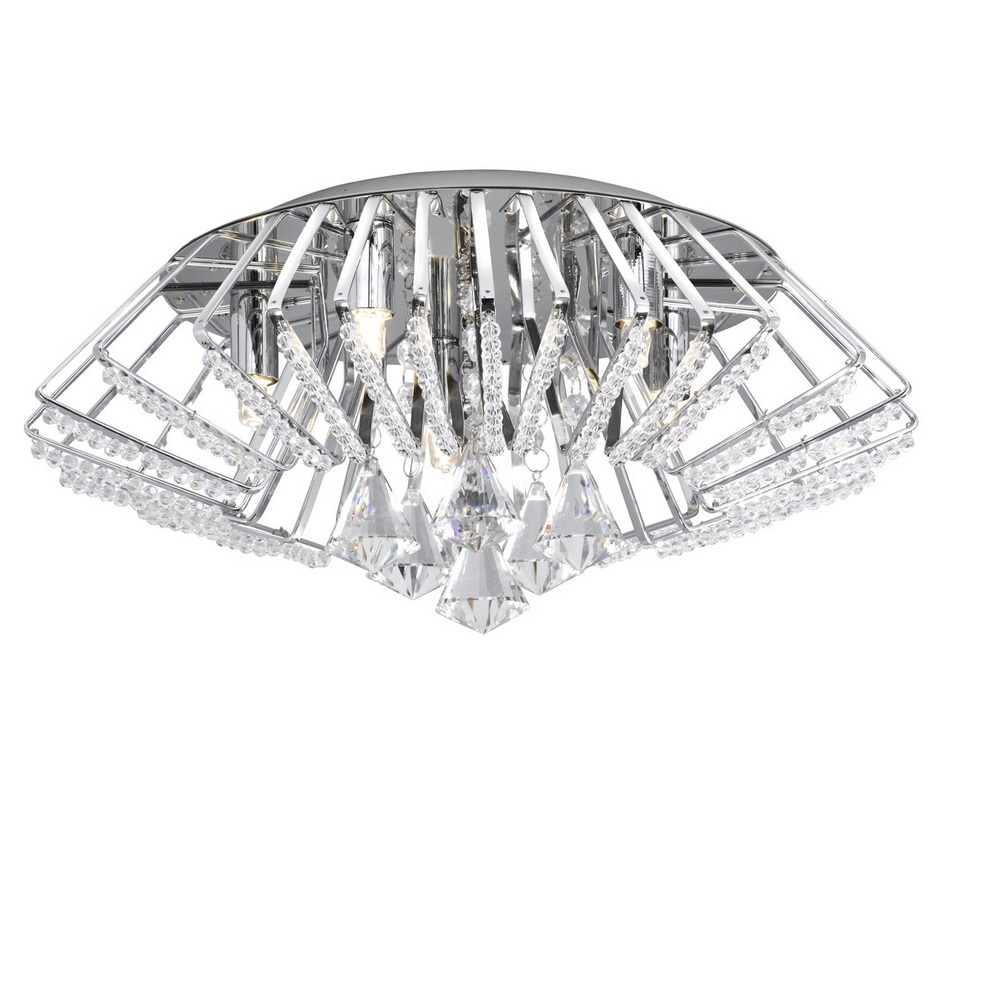 Deckenleuchte Crown aus Chrom und Kristallglas