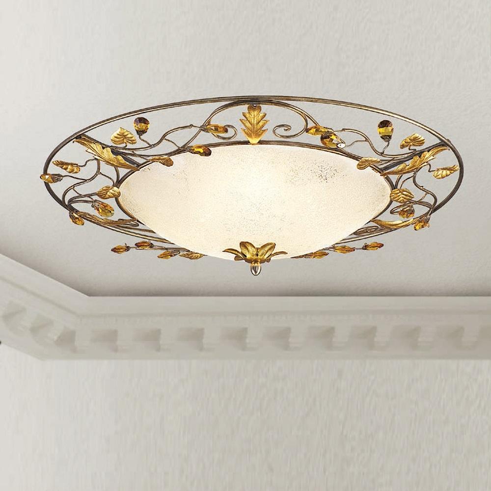 Deckenleuchte Florentiner Stil, Elfenbein, 3 Größen, Muranoglas