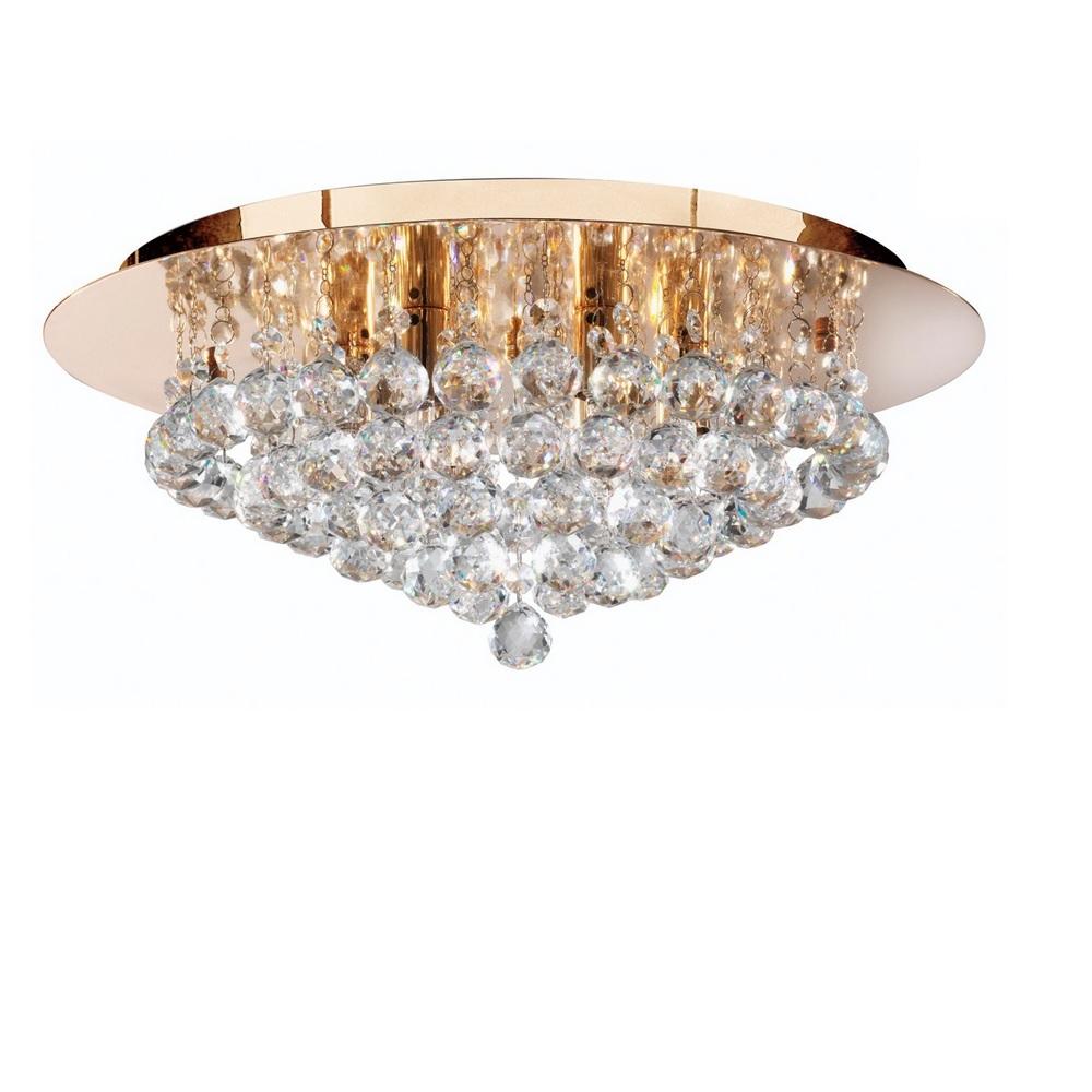 Deckenleuchte Hanna goldfarbig mit Kristallbehang - 3 Größen