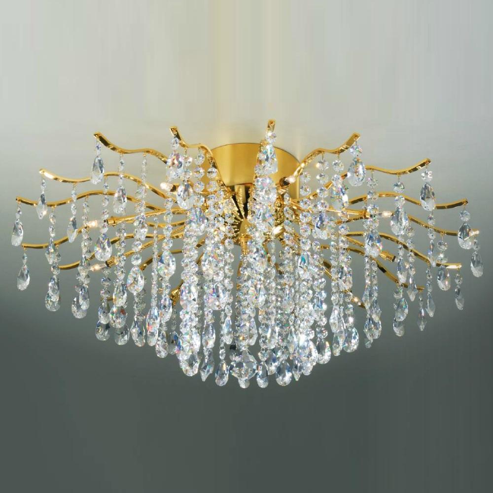 Deckenleuchte mit Kristallbehang, 24 Karat vergoldet, 2 Größen