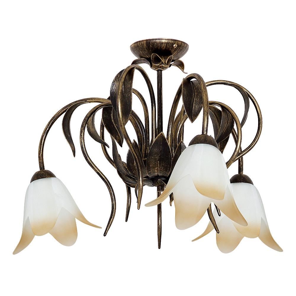 Deckenleuchte, Florales Design, Blütengläser, rostfarbig, 3 flammig