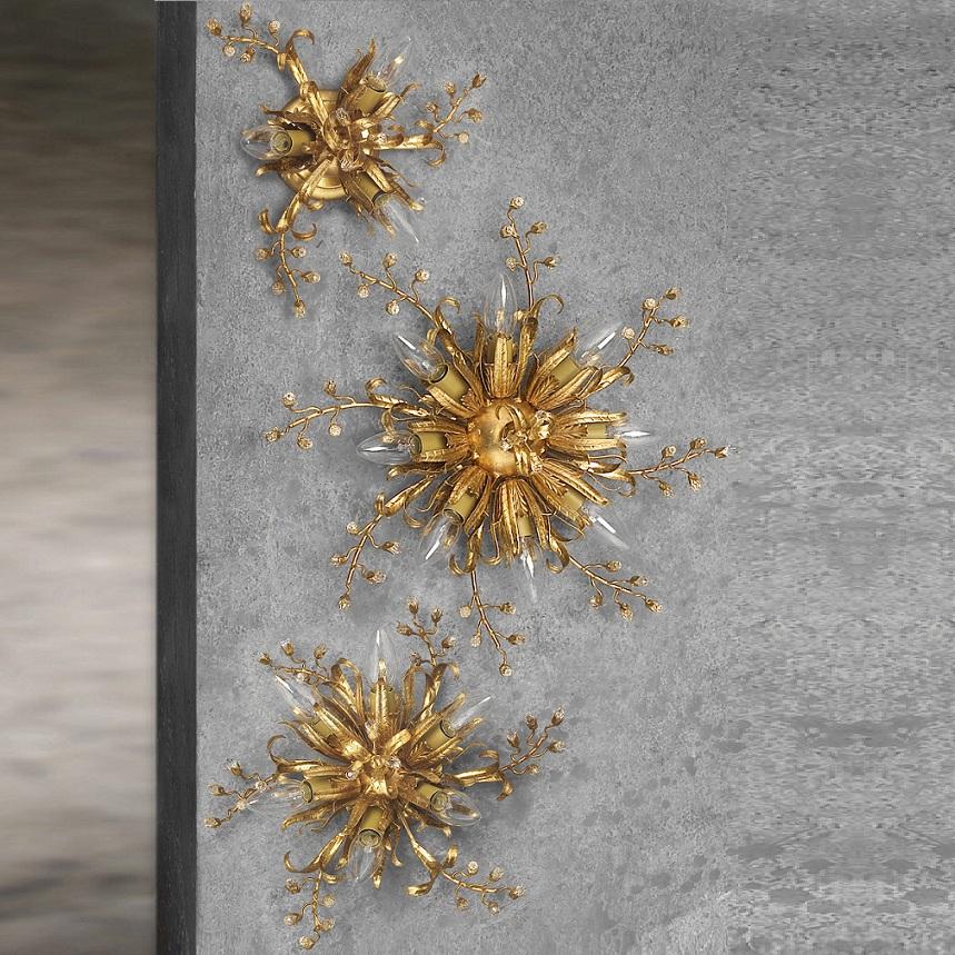 Deckenleuchte, florentiner, Eisen, Blattgold, Kristallrispen, D 34 cm