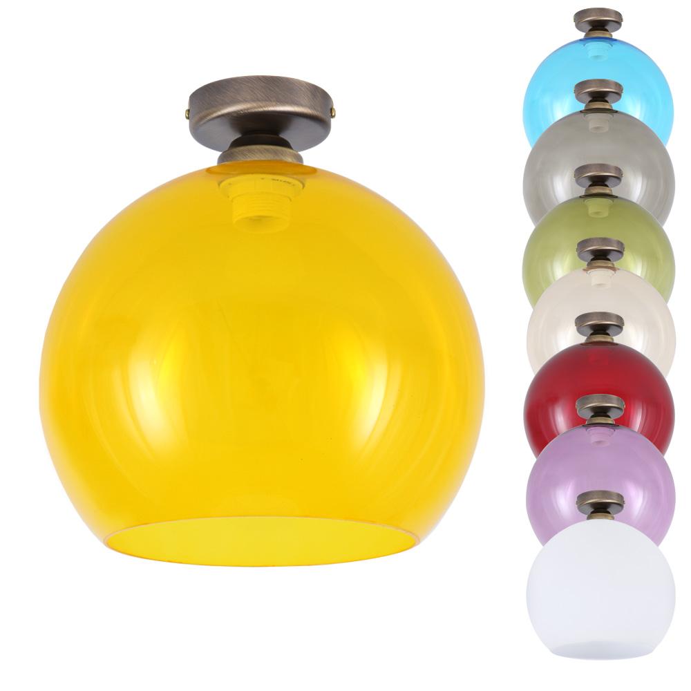 LHG Deckenleuchte, Glas, Farbe wählbar, D=30cm, Deckenhalterung altmessing