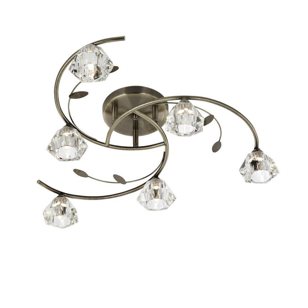Deckenleuchte, Kristallglas, Messing-Antik
