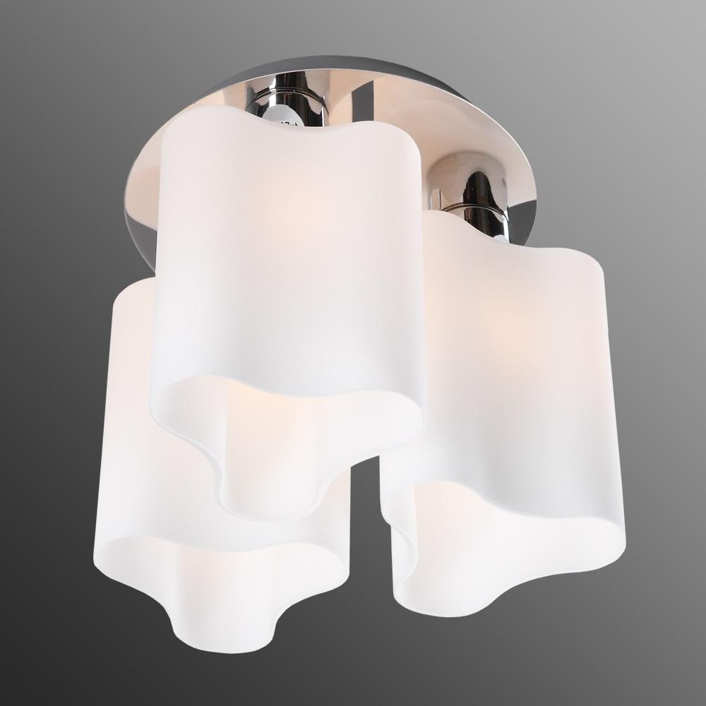 LHG Deckenleuchte, modern, Chrom, Opalglas, 3-flammig, LED einsetzbar