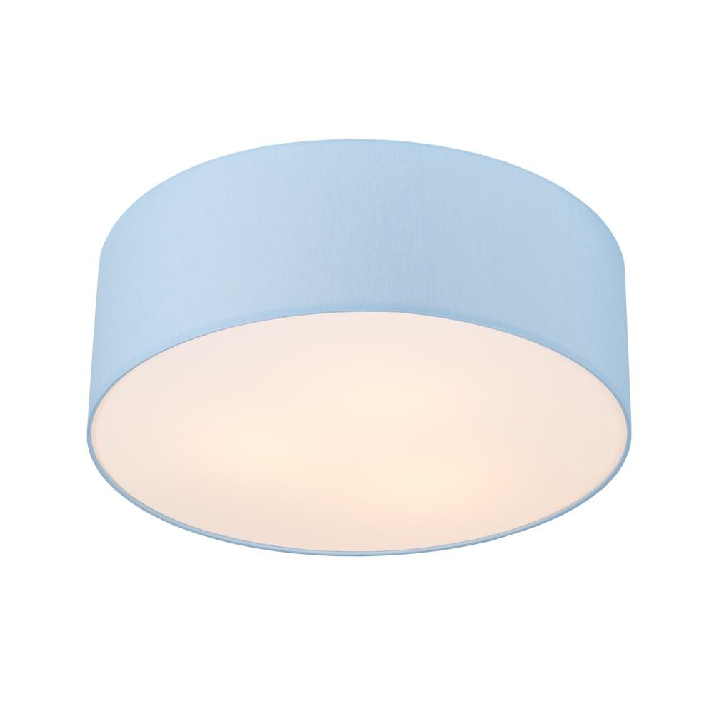 LHG Deckenleuchte, rund, Lampenschirm, Chintz-Stoff, Pastellblau, D=52cm