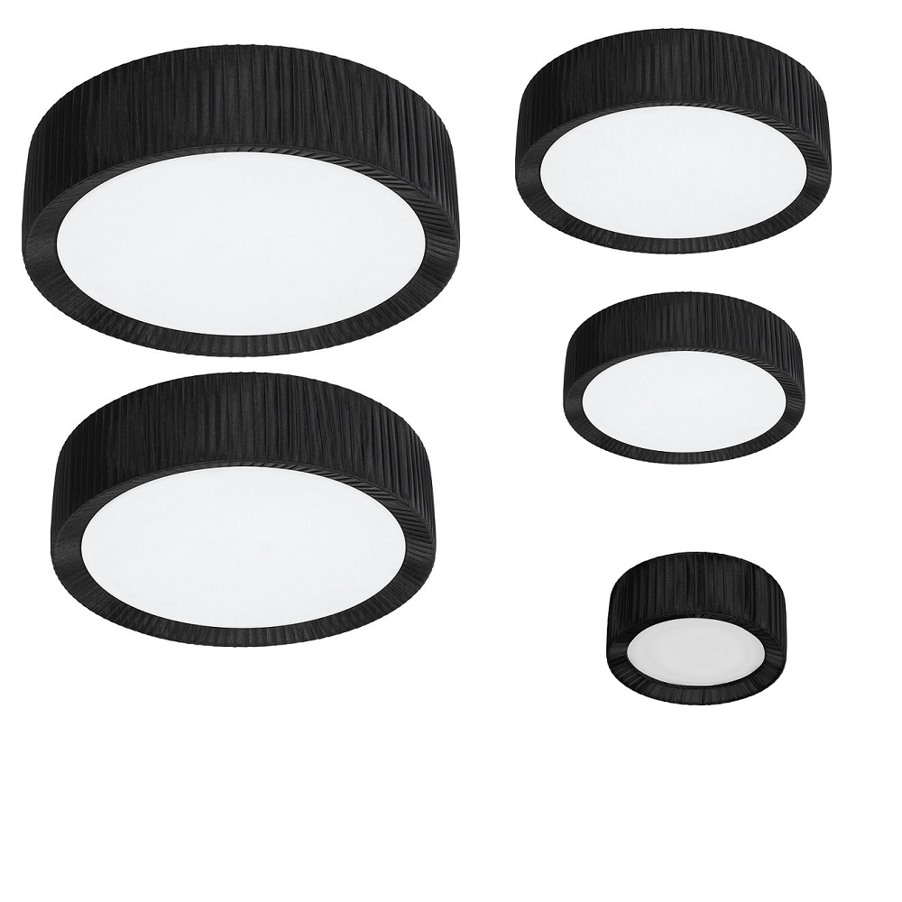 Deckenleuchte, rund, schwarz, Plissee, Stoff, Glas D= 25 o. 45cm