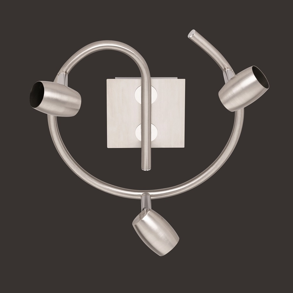 Deckenstrahler rund in Nickel-matt - 3-flammig