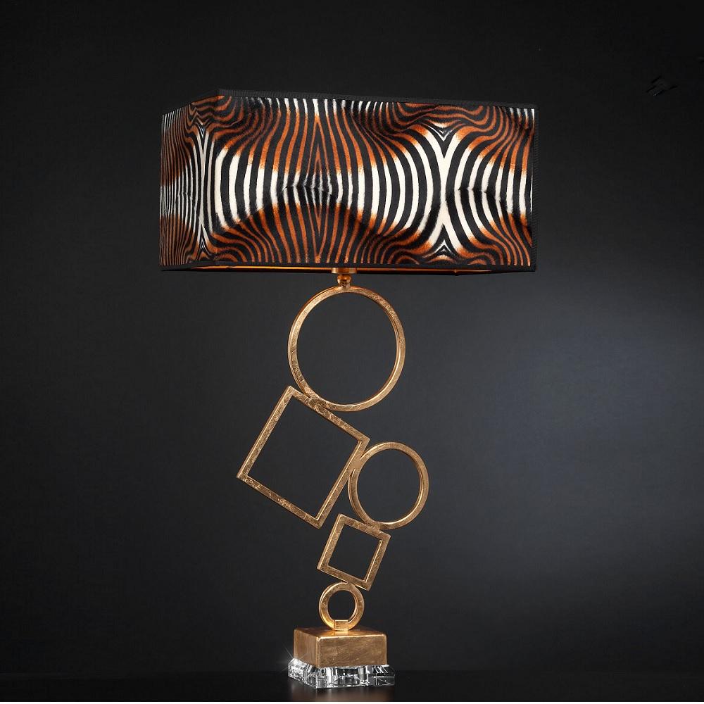 Dekorative Tischleuchte - Blattgold mit Stofflampenschirm - Höhe 80 cm
