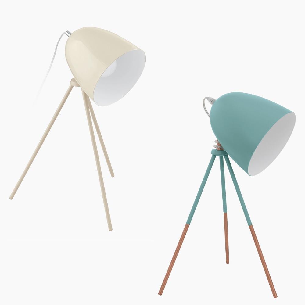 Dreibein Tischleuchte im Retro-Design , Sandfarben oder Mint