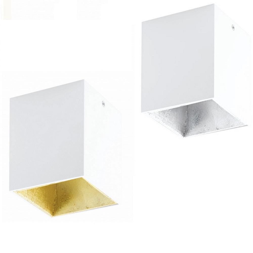 Eckige LED-Deckenleuchte in Weiß, innen silber- oder gold